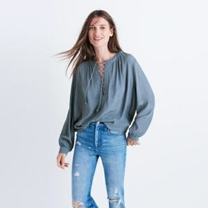 Madewell lace up peasant oversized blouse